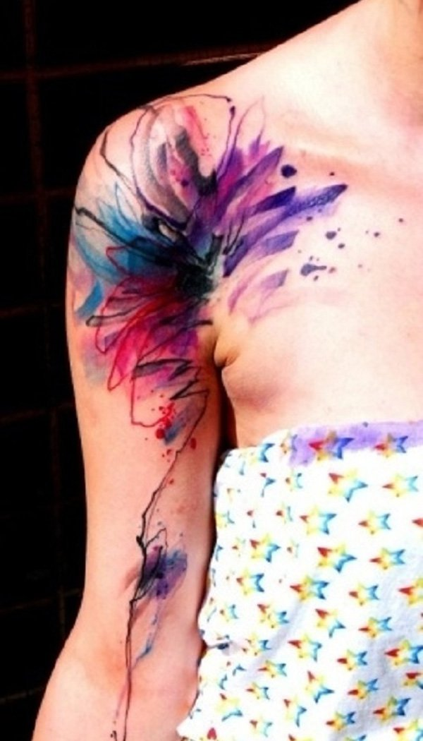 41-Water-color-tattoo-on-shoulder-and-arm