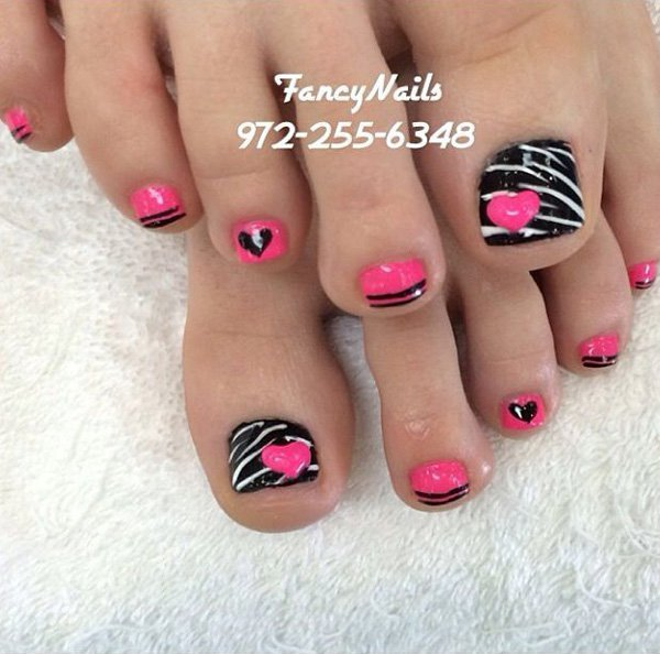 Black Pink White Zebra Stripes Hearts Toe Nail