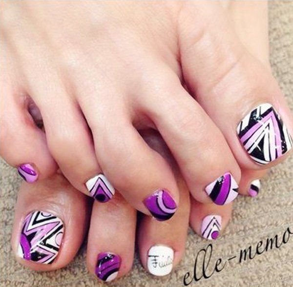 Abstract Toenail Art Designs