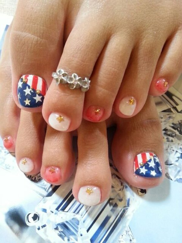27 gorgeous toe nail art designs that you should got to have flag toes art prinsesfo Gallery