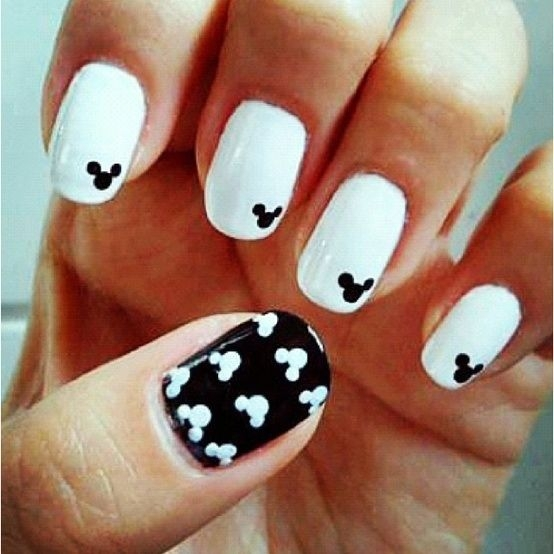 25 simple yet classy nail art design for lazy girls are you a mickey mouse fan or love to watch them then simply create the design of mickey mouse on to your nails and amaze others with your design as well prinsesfo Image collections