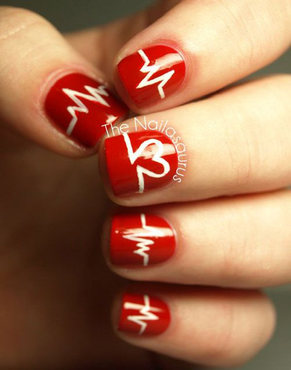 30 incredible valentines day special nail art that will enhance heartbeat design on your nails valentines - Valentine Design Nails