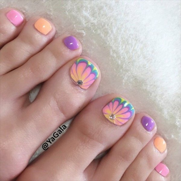 27 gorgeous toe nail art designs that you should got to have water marble design on toe nails prinsesfo Images
