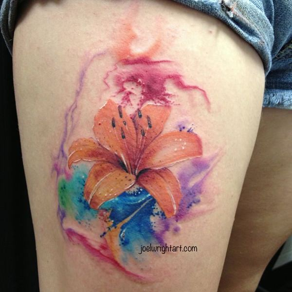 Awesome lily tattoo that you can 39 t even refuse to have for How long after a tattoo can you go swimming