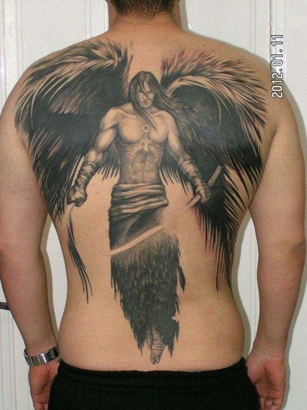 Фото тату мужчина ангел