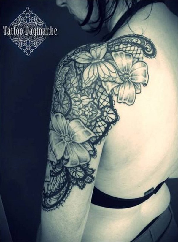 14-lace-tattoo-Shoulder-Tattoo